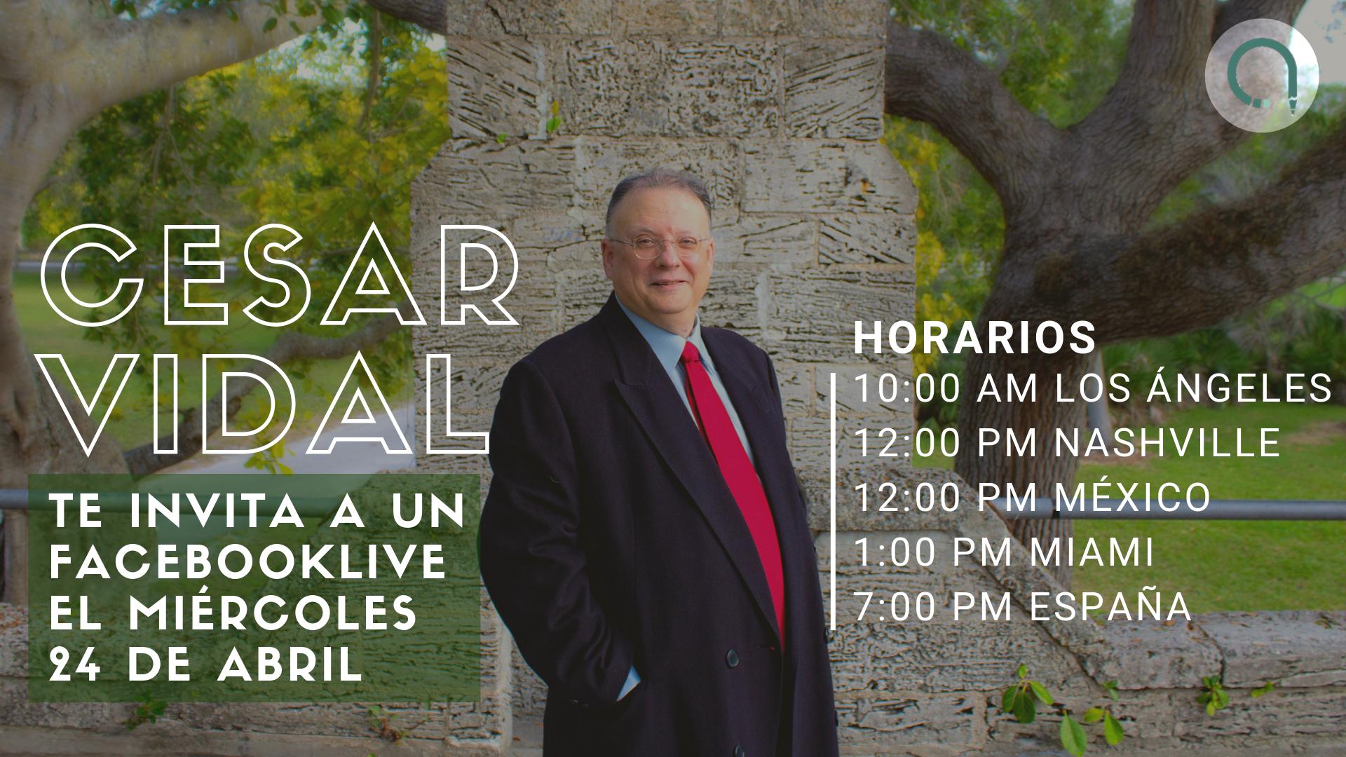 César Vidal anunciará en directo a través de Facebook Live el lanzamiento de su nuevo libro el próximo 24 de abril