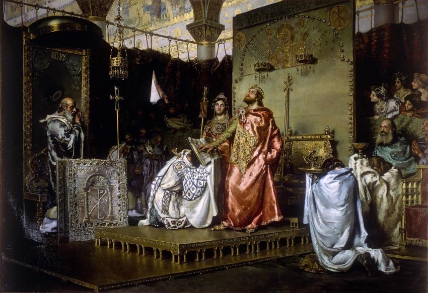 """De la conversión en religión estatal a la """"solución final"""" del problema judío (V): El judío como archienemigo (III): el reino visigodo católico: de Recaredo a Honorio I (I): El catolicismo se convierte en religión oficial"""